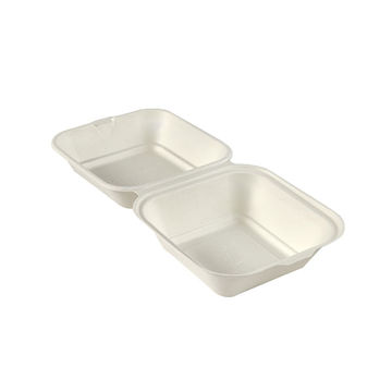 """Picture of 6"""" Square Bagasse Burger Boxes (10x50)"""
