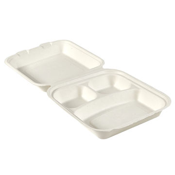 """Picture of 8"""" Square Bagasse 3-Comp Clamshells (5x50)"""