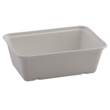 Picture of 25.6 floz (650ml) White Bagasse Trays (10x50)
