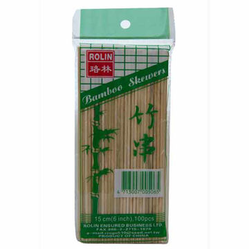 """Picture of Rolin Bamboo Skewers 6"""" (100)"""